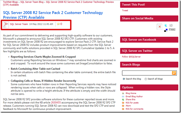 SQL Server Team - SQL Server 2008 R2 Service Pack 2 Customer Technology Preview (CTP) Available–Updates and Downloads (2/3)