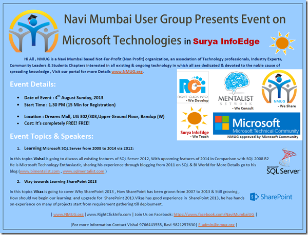 I am presenting @ Navi Mumbai User Group Event on Microsoft Technologies in Surya InfoEdge on SQL Server 2014 & MS BI (1/2)